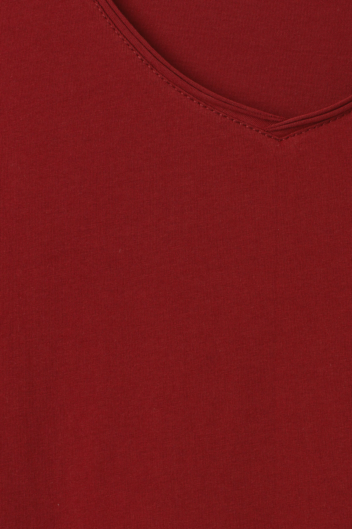 Detailed image of Weekday dark v-neck t-shirt in red