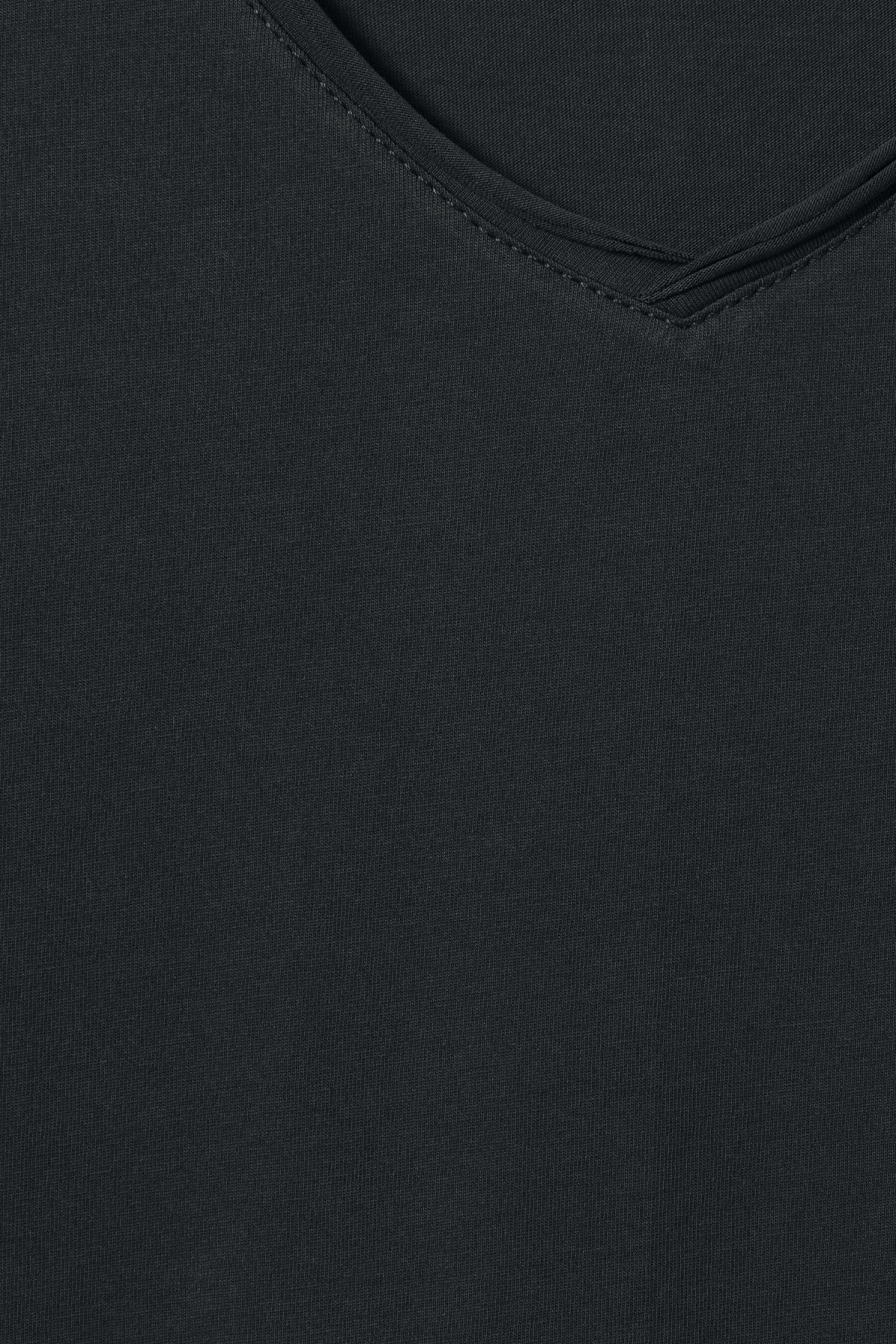 Detailed image of Weekday dark v-neck t-shirt in black