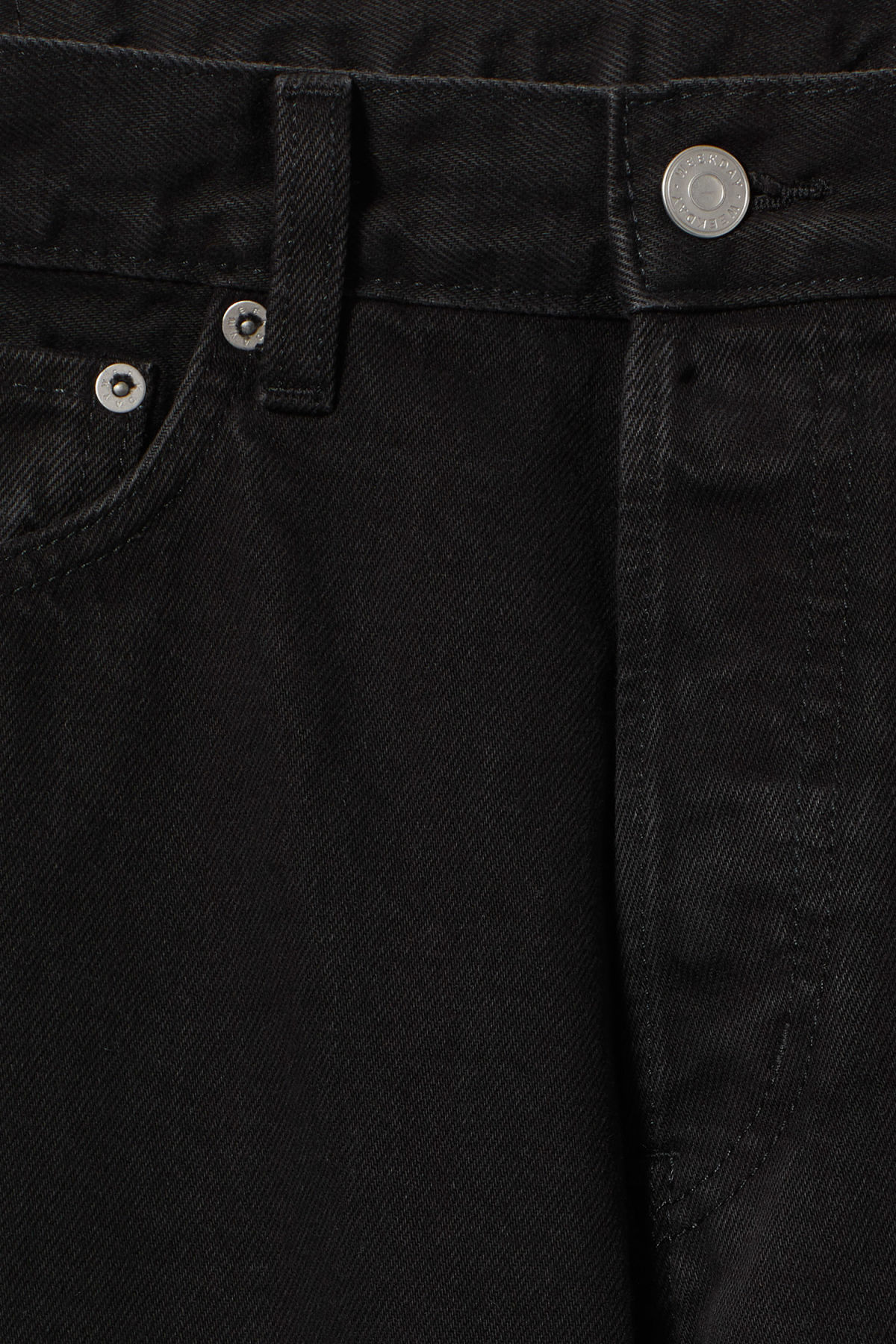 Detailed image of Weekday pine tuned black jeans in black