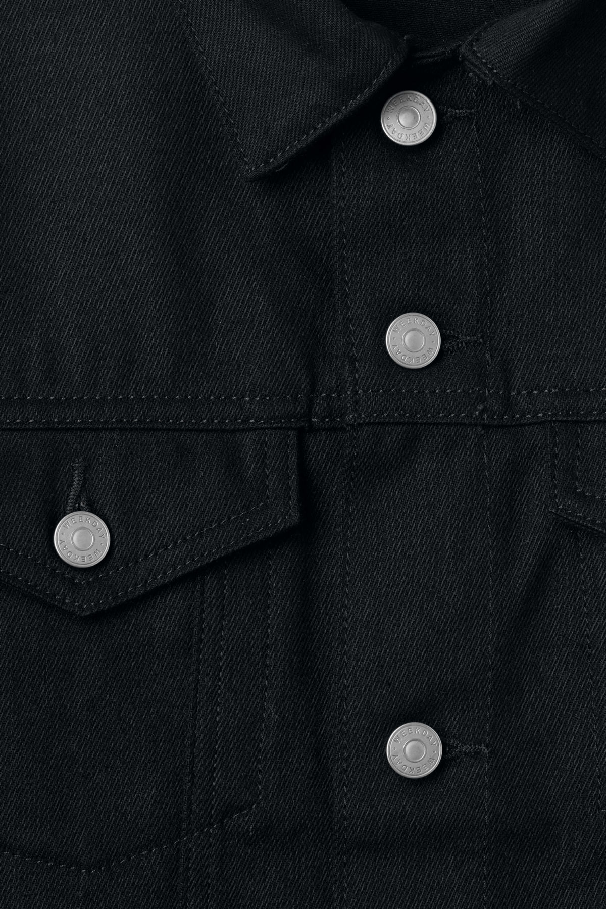 Detailed image of Weekday single unwashed black jacket in black