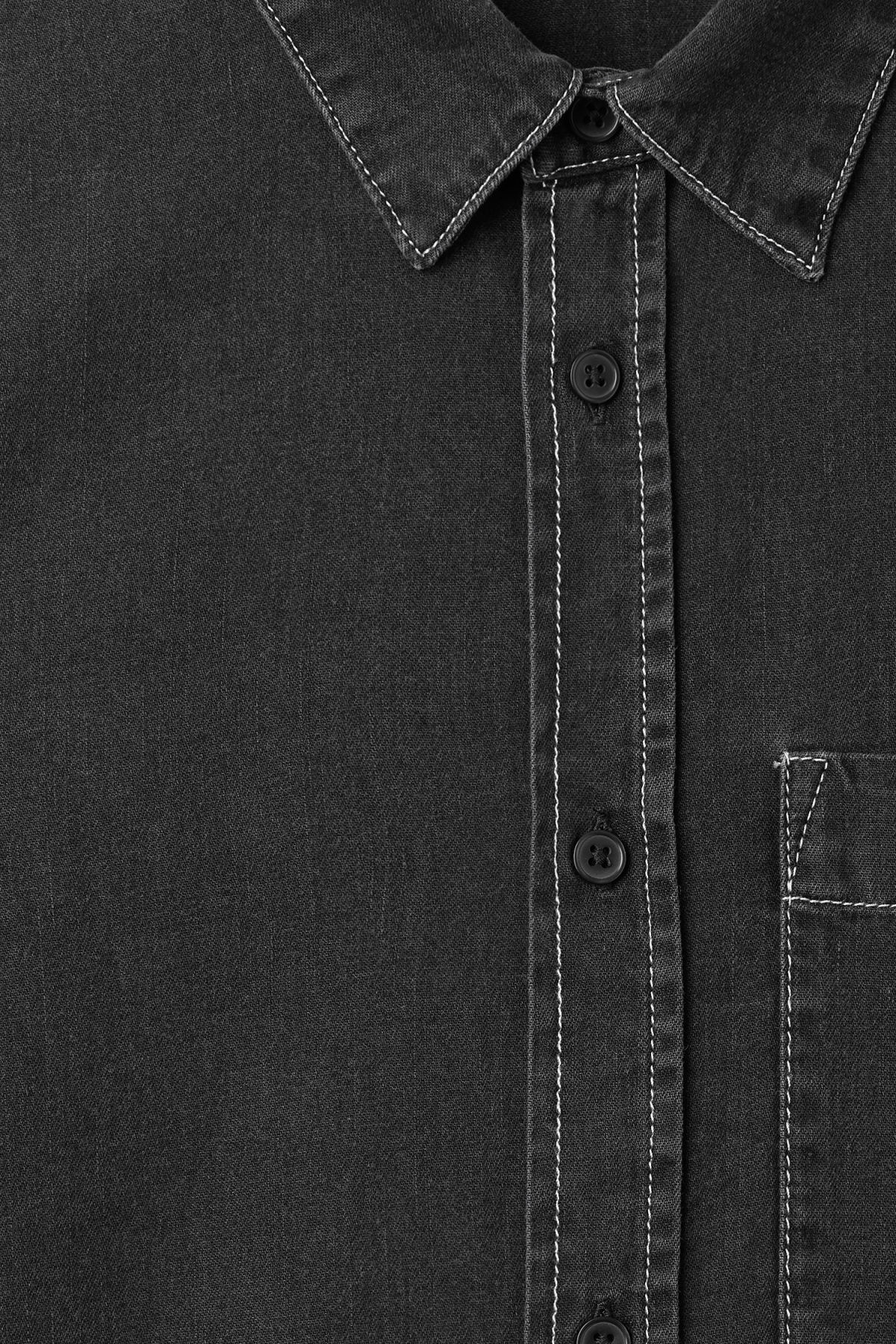 Detailed image of Weekday cedar washed black shirt in black