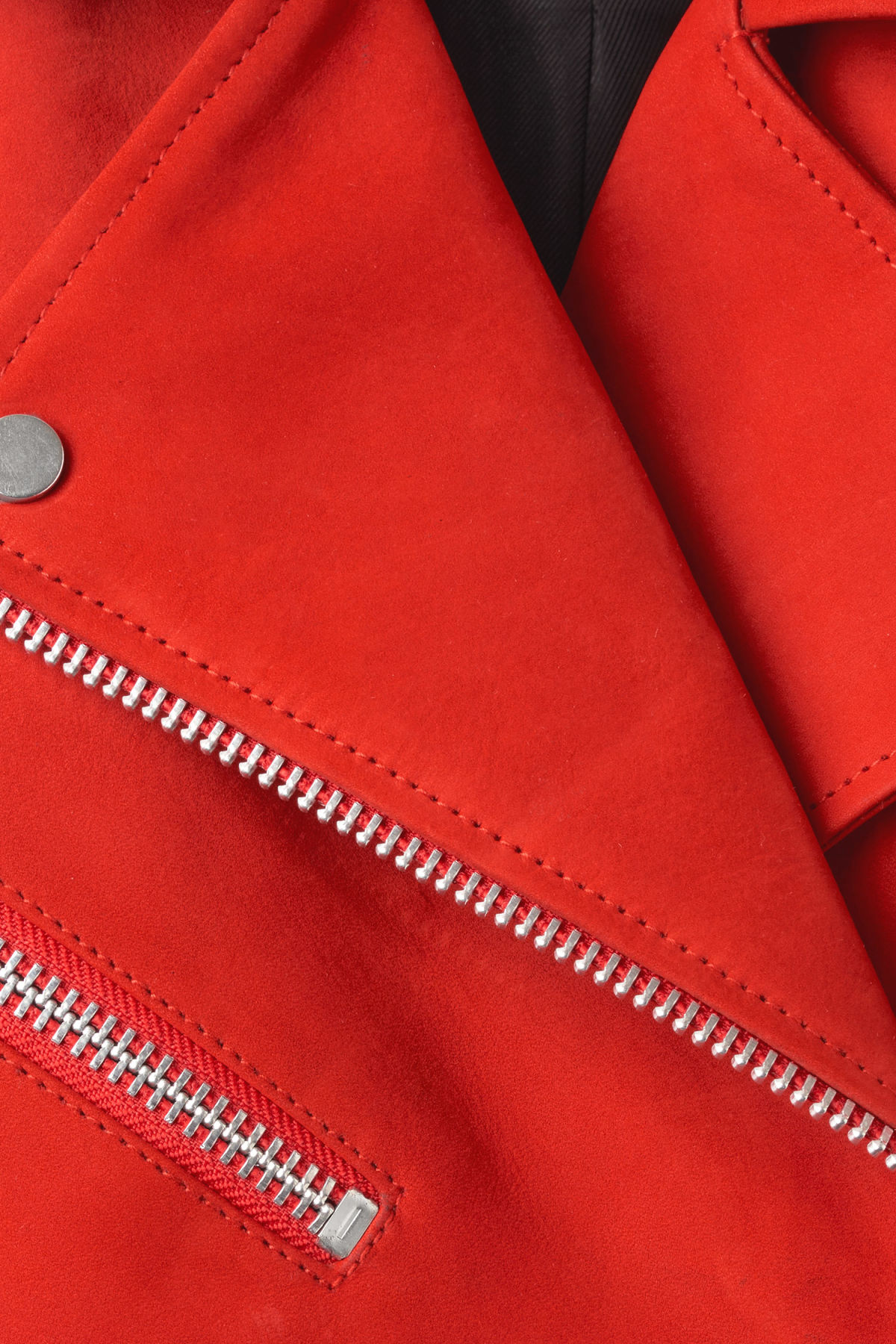 Detailed image of Weekday jemina suede jacket in red