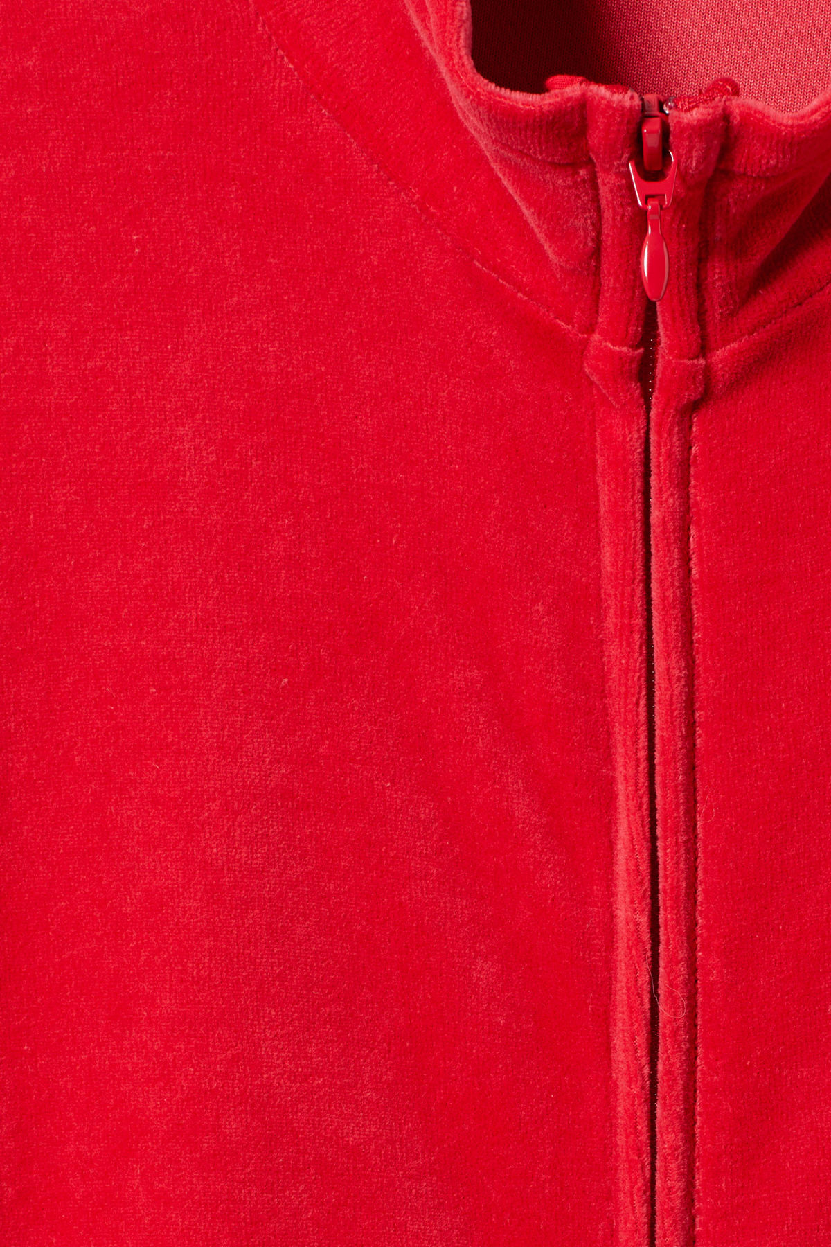 Detailed image of Weekday track velour sweatshirt  in red
