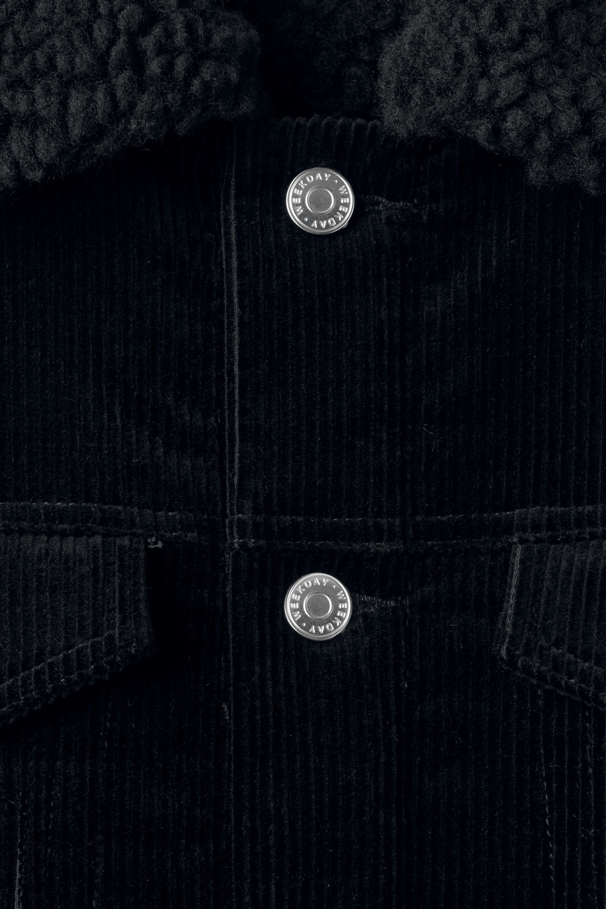 Detailed image of Weekday single cord pile jacket in black
