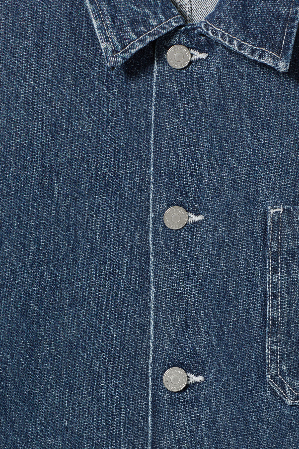 Detailed image of Weekday generic denver blue jacket  in blue