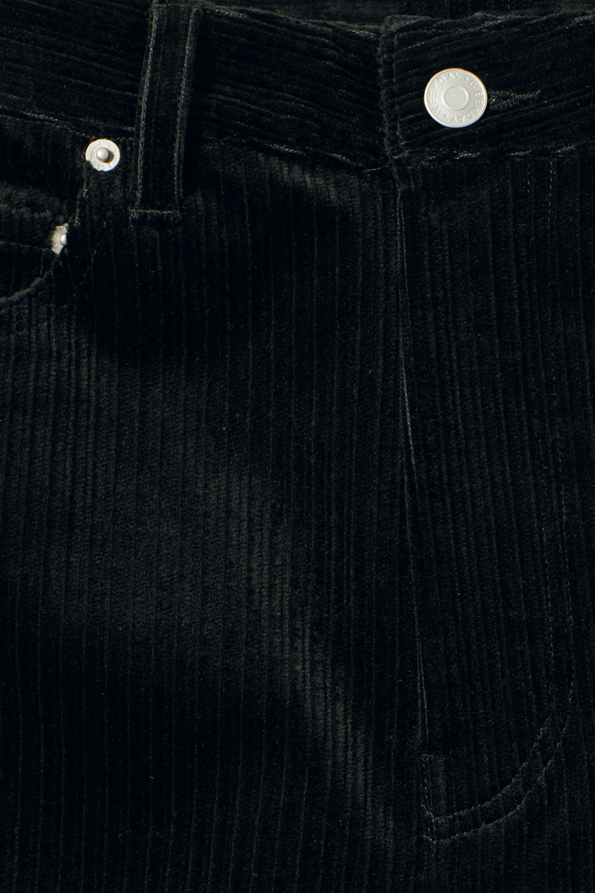 Detailed image of Weekday ace corduroy trousers in black