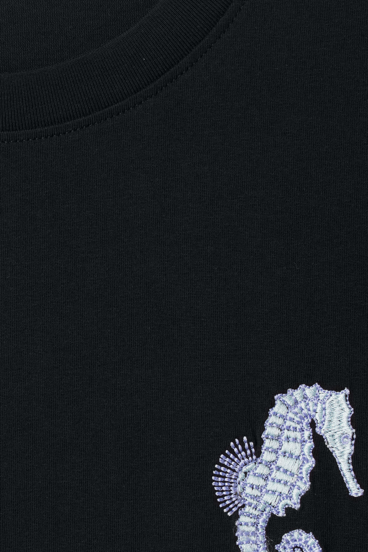 Detailed image of Weekday frank seahorse t-shirt in black