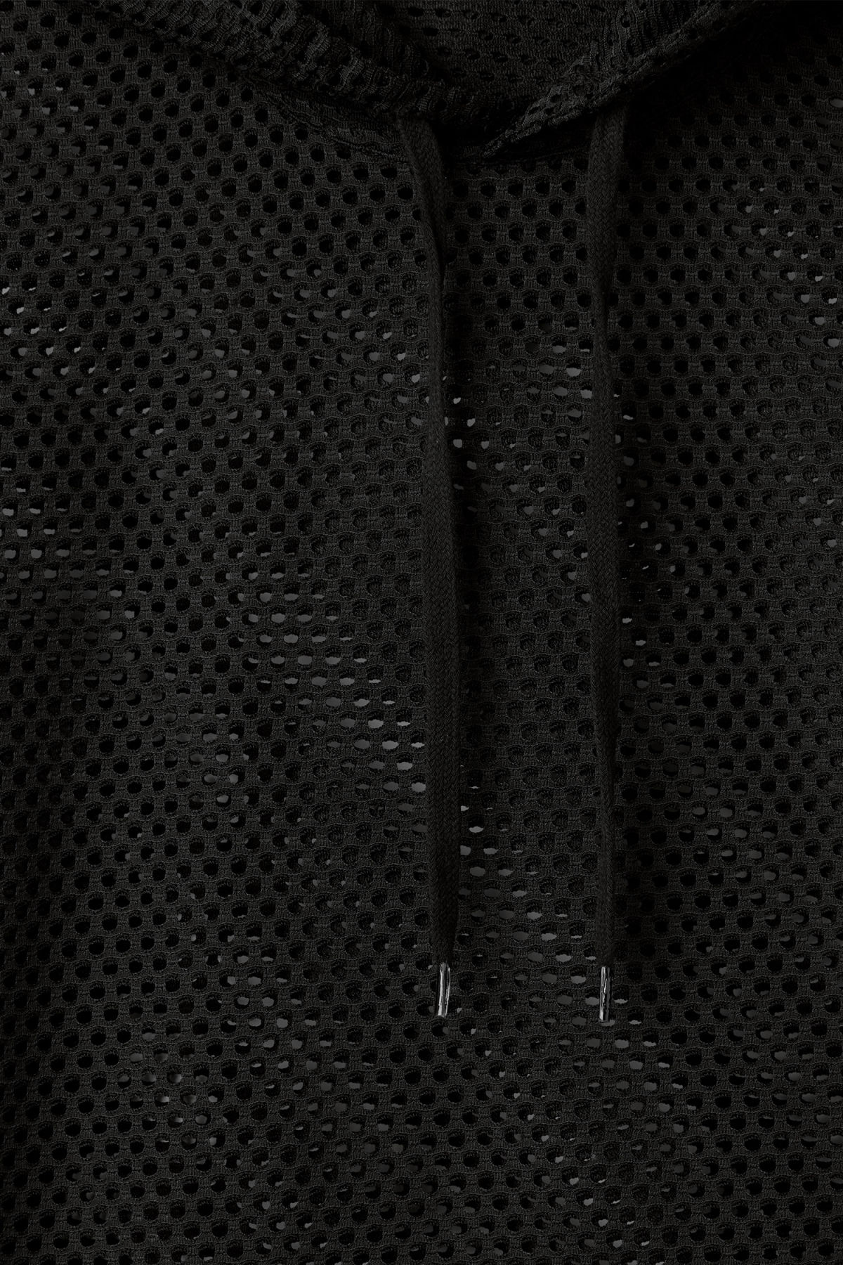 Detailed image of Weekday kit mesh hoodie in black