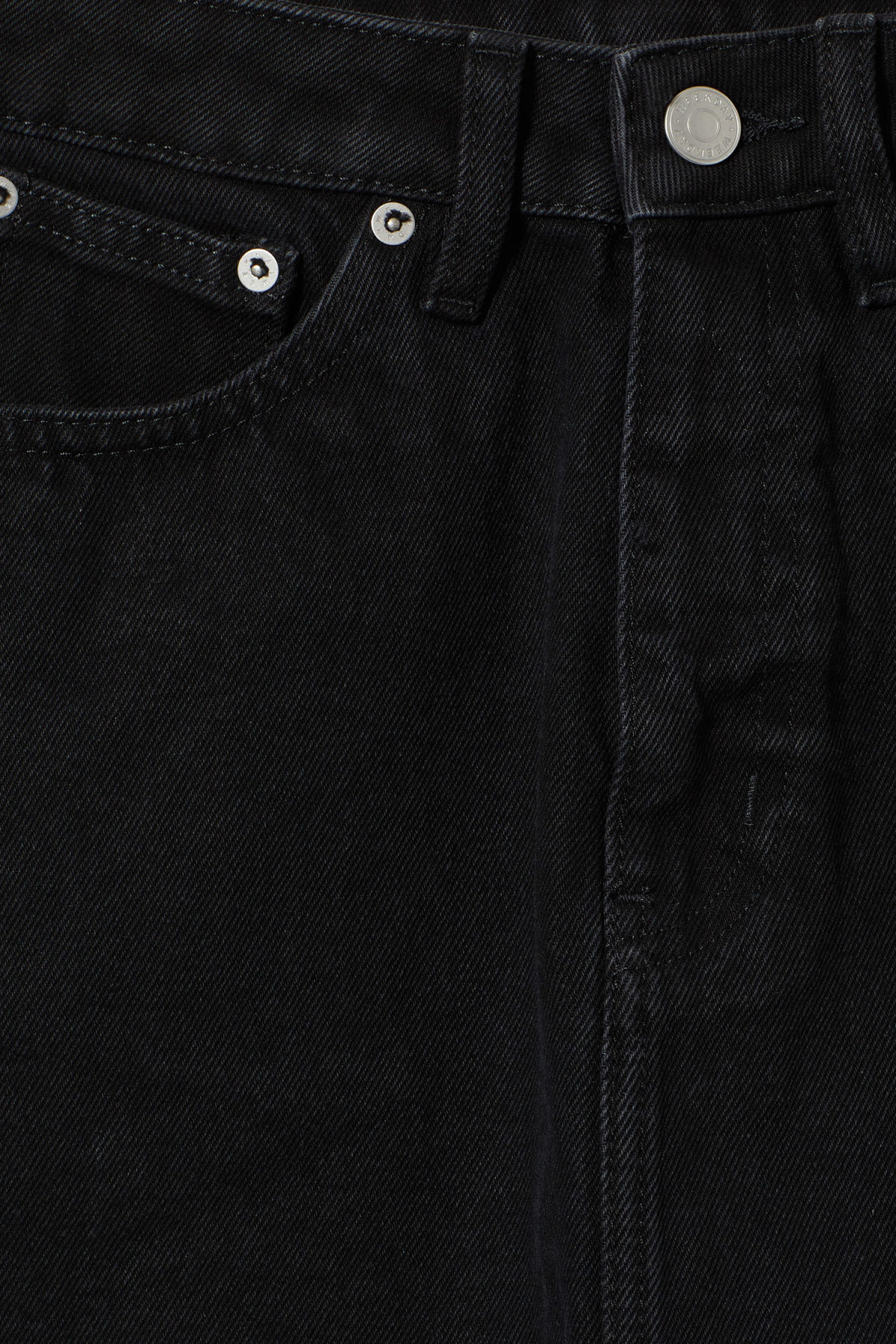 Detailed image of Weekday wend black denim skirt  in black