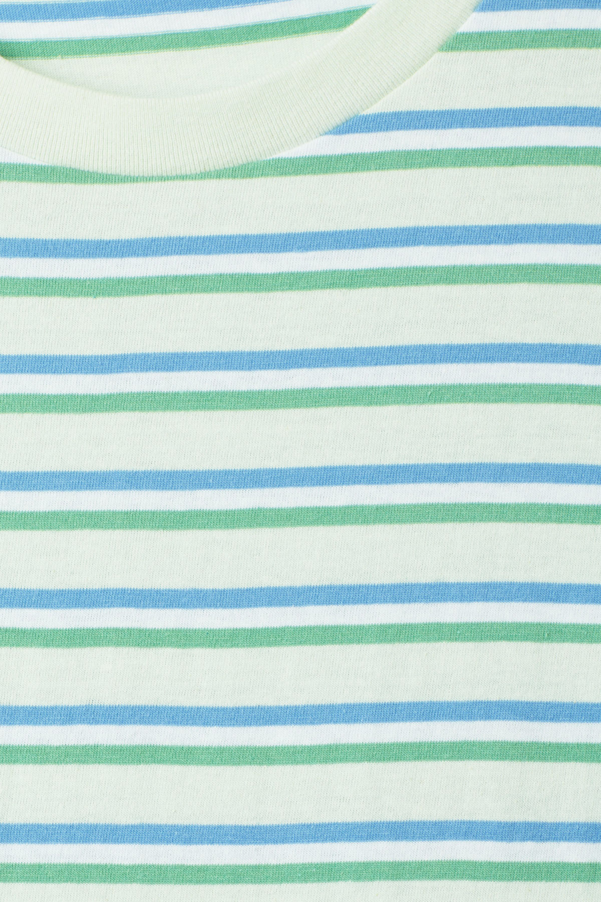 Detailed image of Weekday alan stripe t-shirt in turquoise