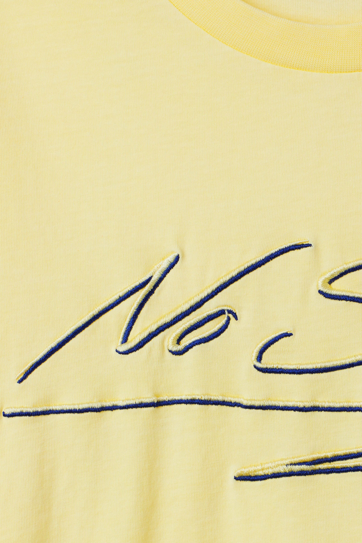 Detailed image of Weekday alan printed t-shirt  in yellow