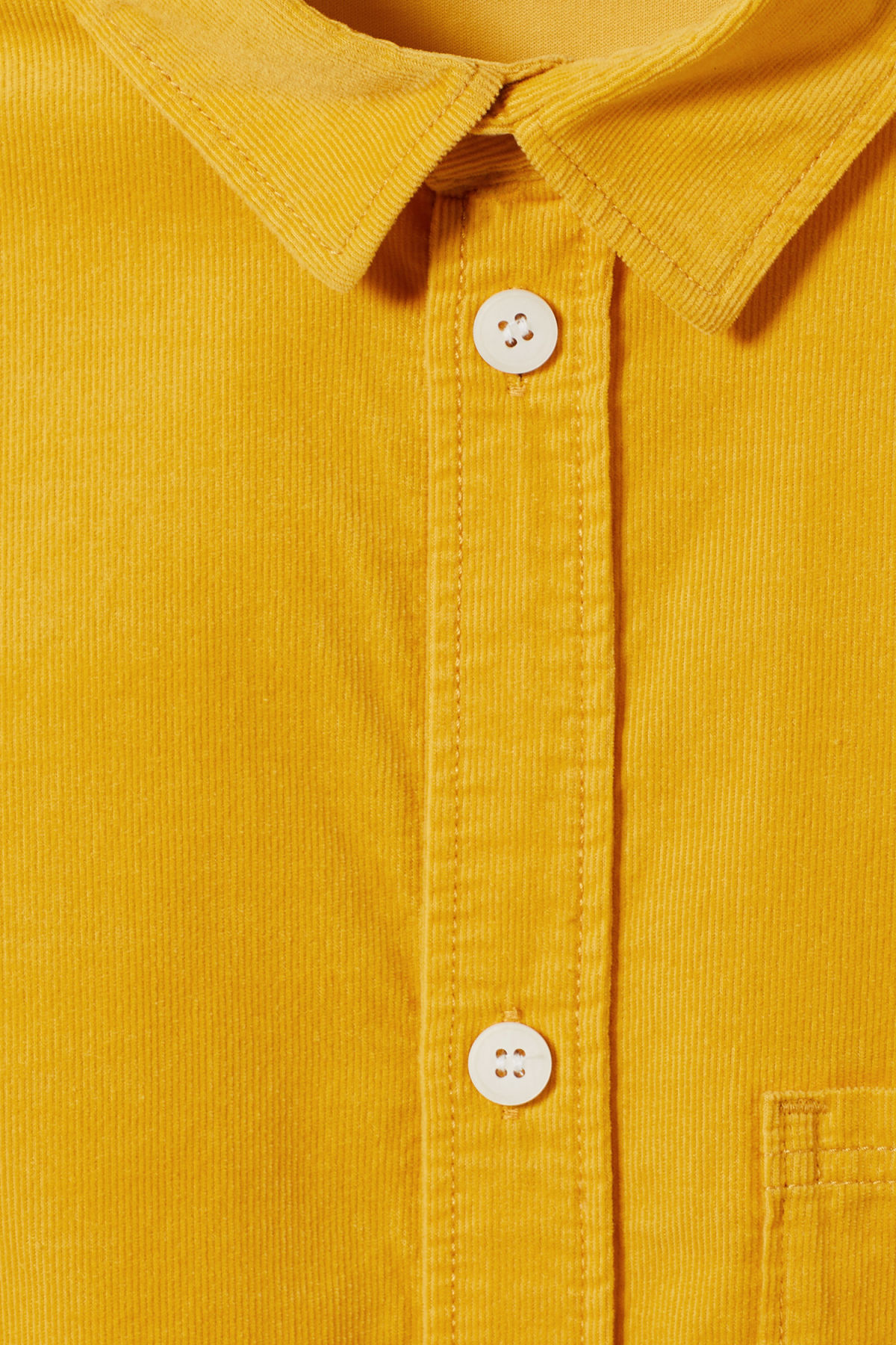 Detailed image of Weekday wise cord shirt in yellow