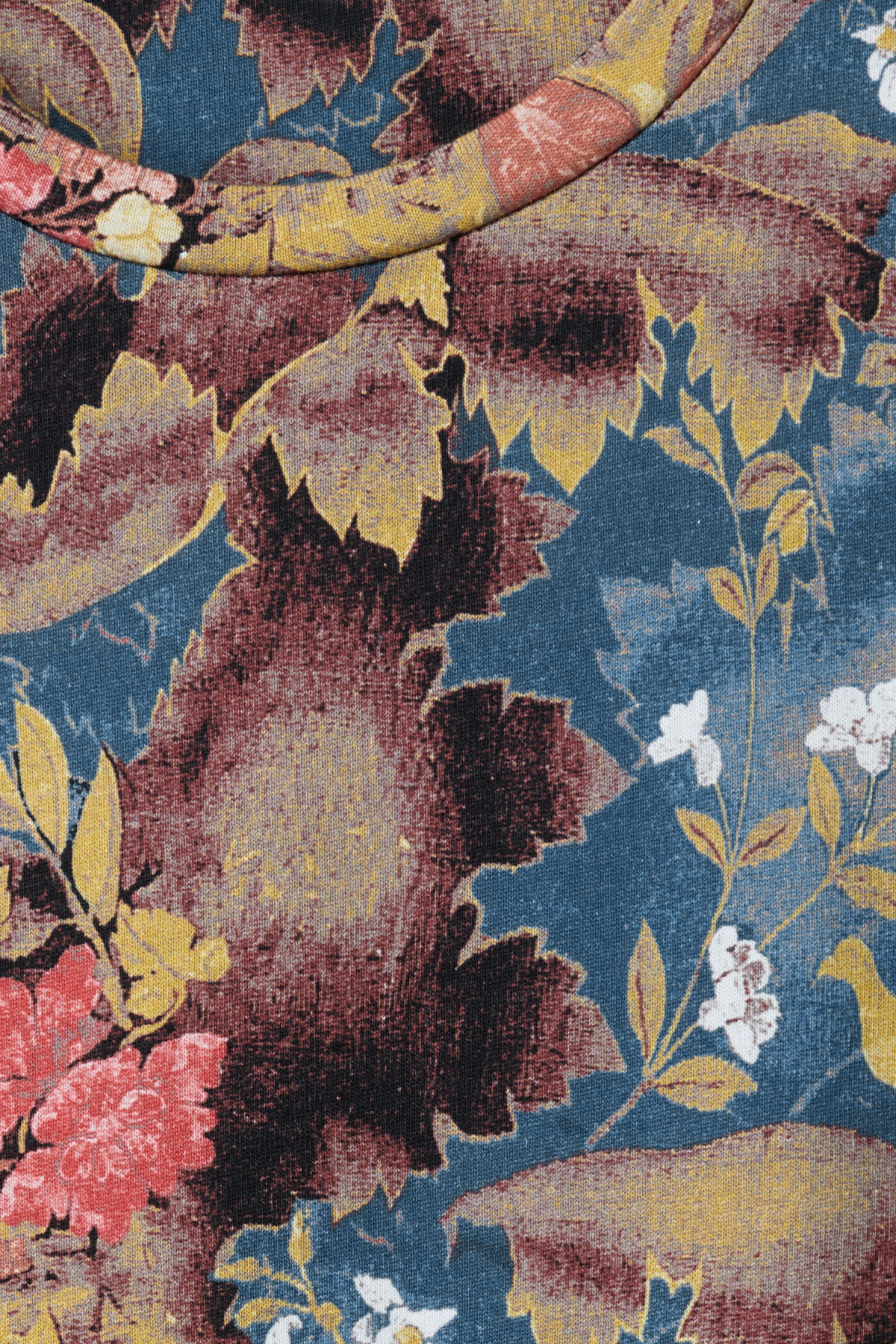 Detailed image of Weekday jonston bird tapestry t-shirt in blue