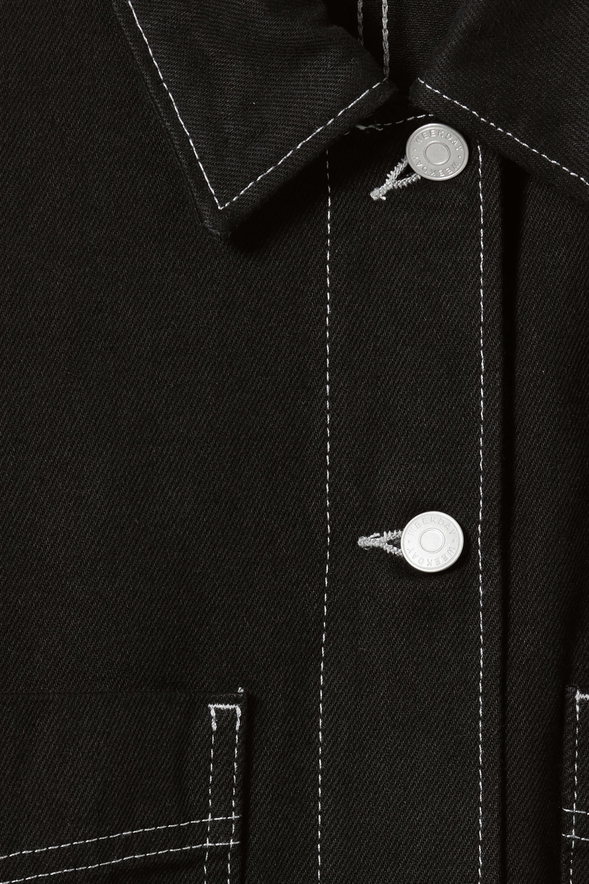 Detailed image of Weekday trip black denim jacket in black