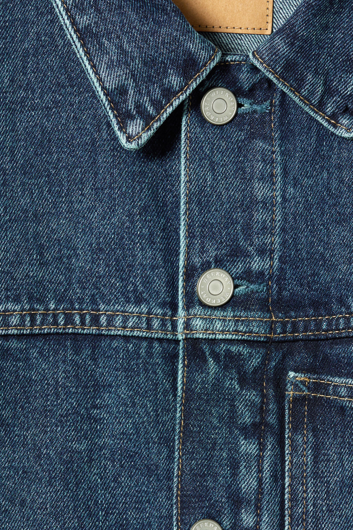 Detailed image of Weekday core storm blue denim jacket in blue