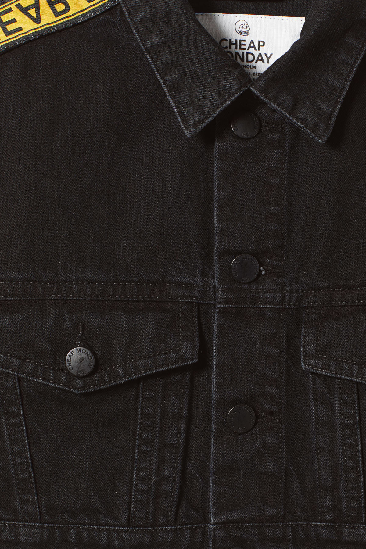 Detailed image of Weekday box denim jacket in black