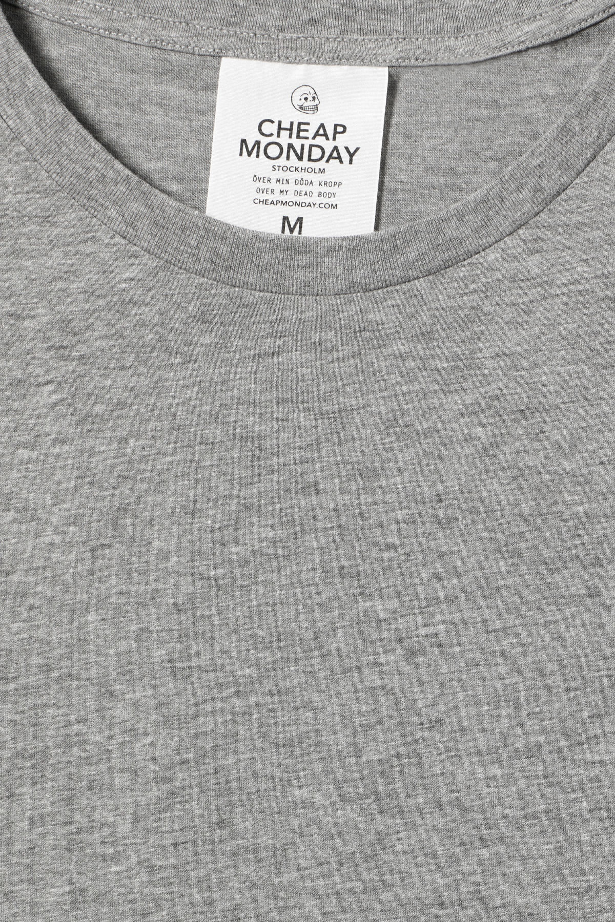 Detailed image of Weekday standard tiny skull t-shirt  in grey