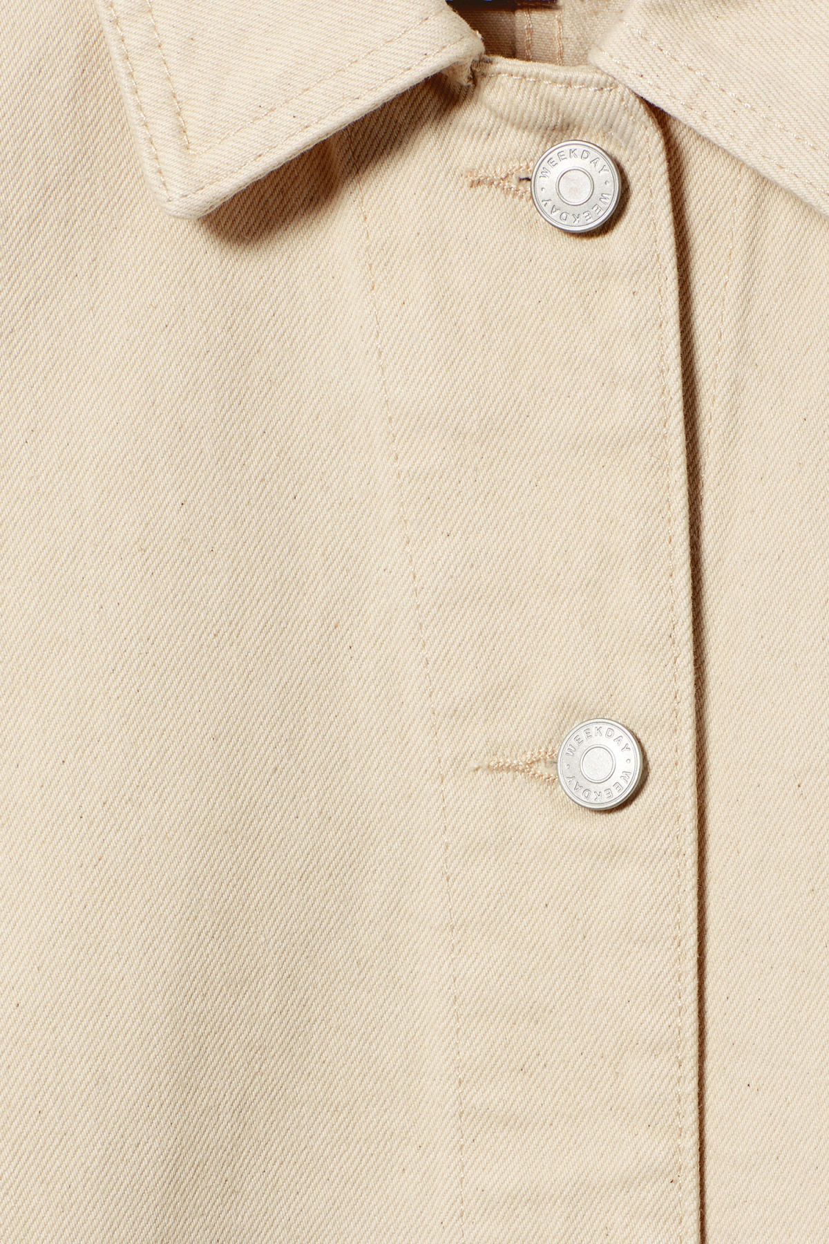 Detailed image of Weekday dual ecru denim jacket  in beige