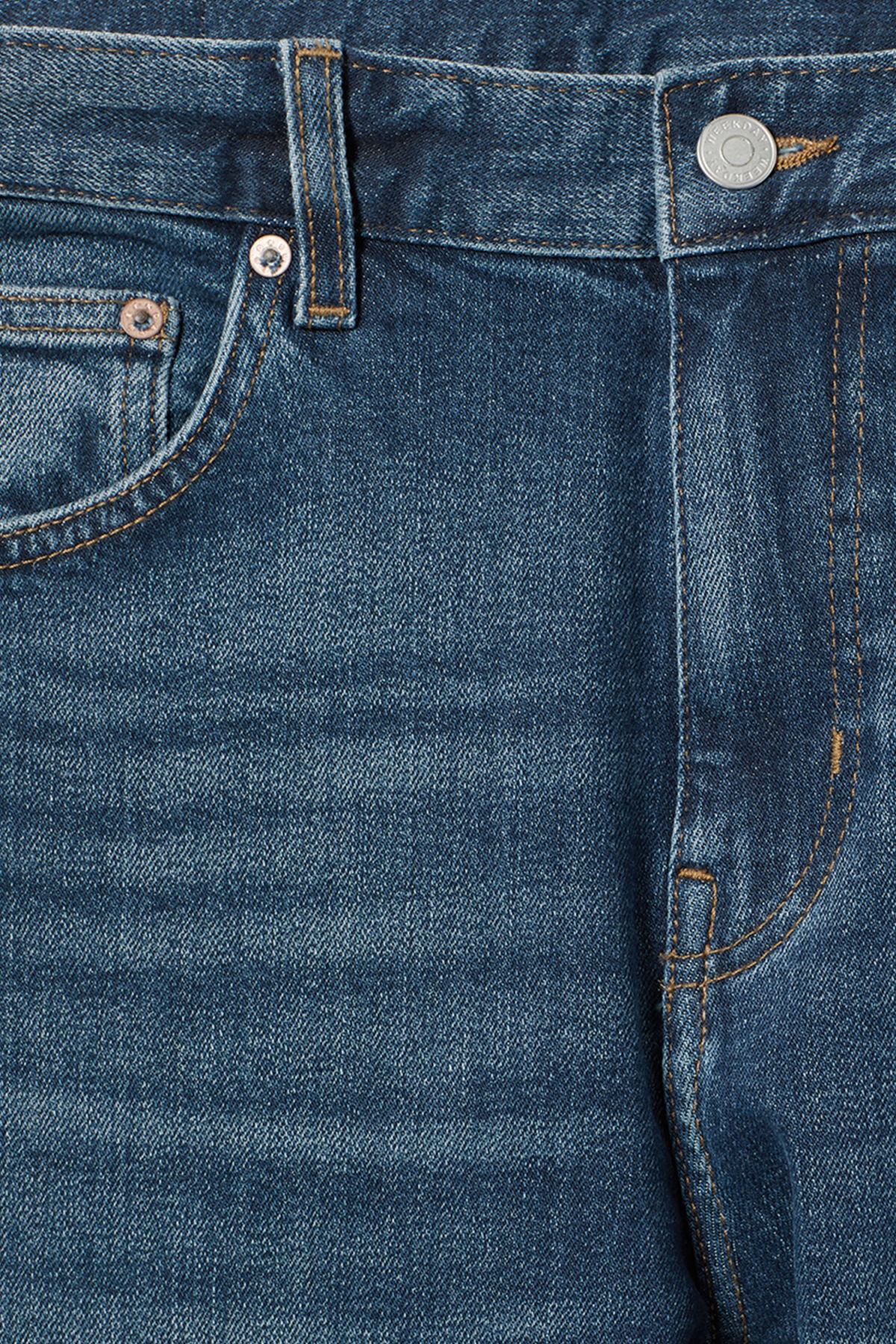 Detailed image of Weekday cone slub blue jeans in blue