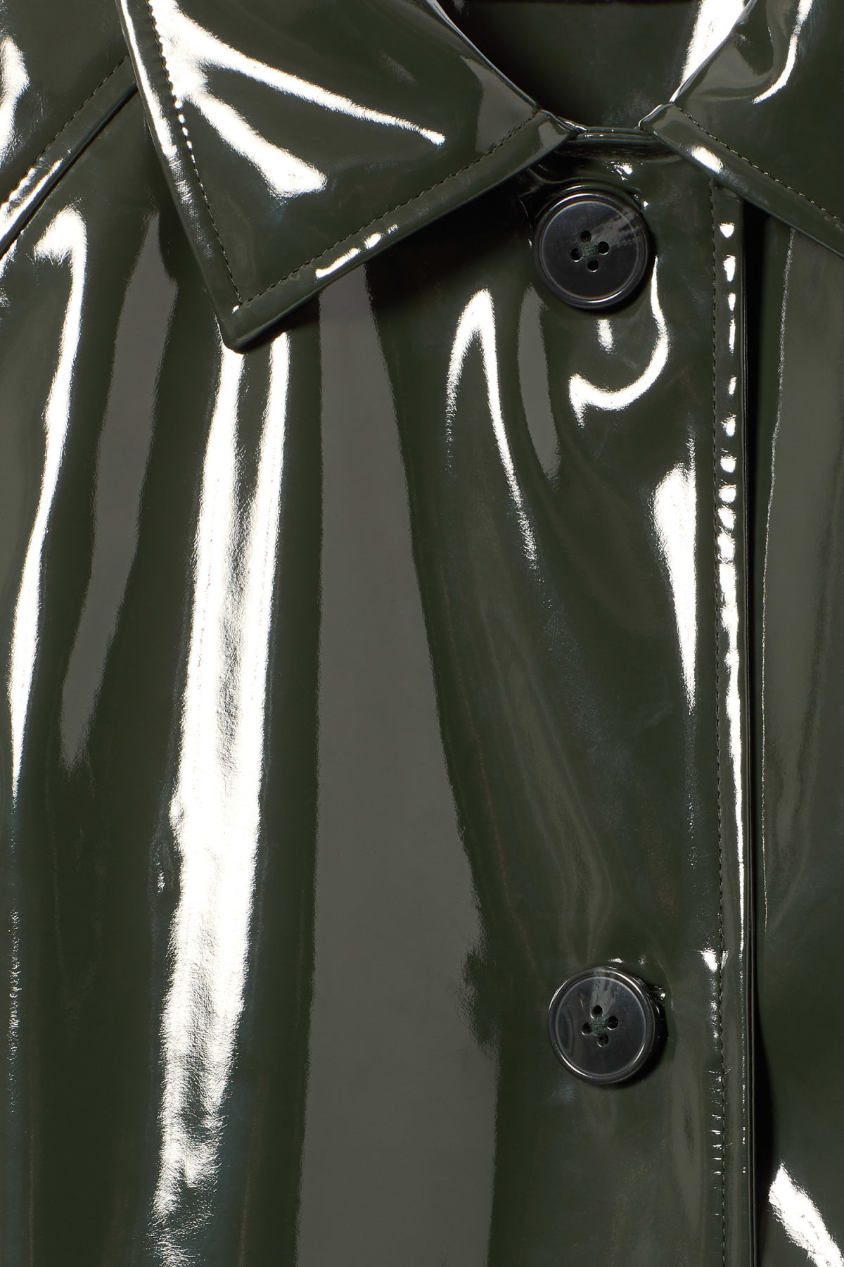 Detailed image of Weekday raven patent coat in green