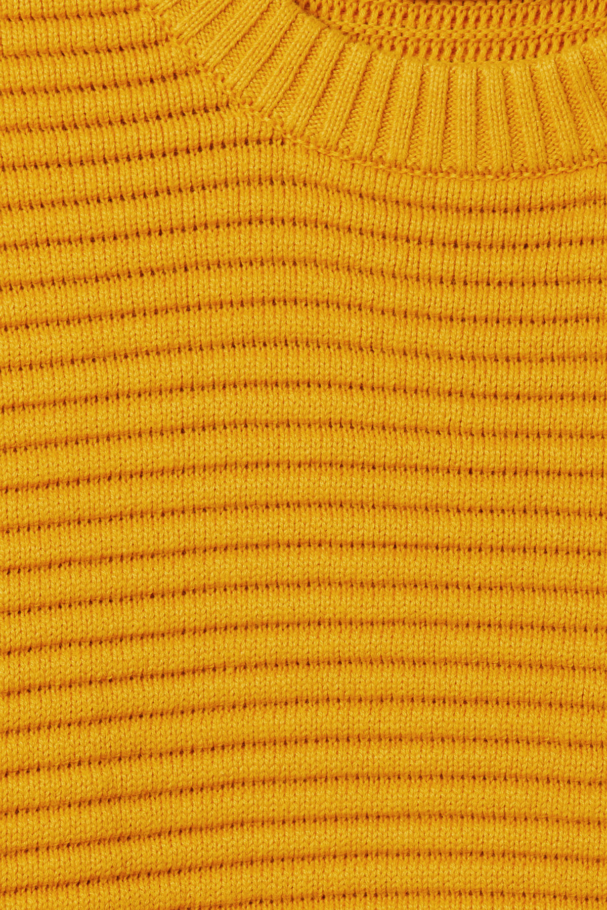 Detailed image of Weekday smyth waffle sweater  in yellow