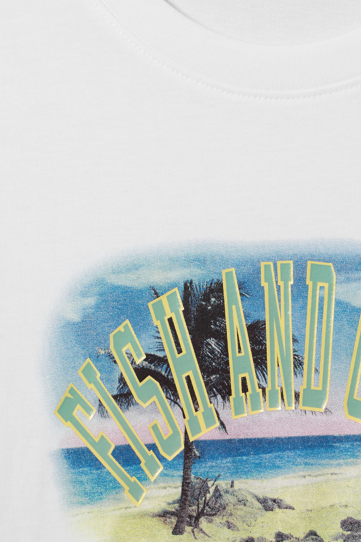 Detailed image of Weekday frank fish & chips t-shirt in white